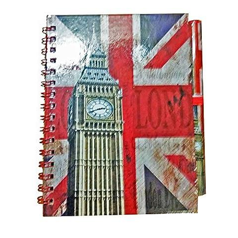 Classique Horloge Big Ben Carnet et stylo assorti. Effet vieilli London Union Jack Go Note Book Carnet de notes Bloc-notes Note Pad