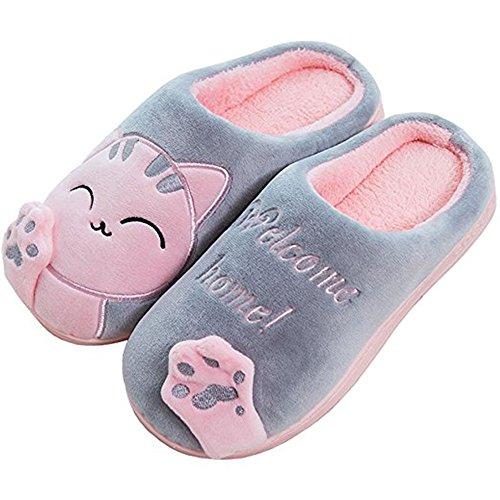 Damen Katze Pantoffeln, Herren winter Warme Baumwolle Hausschuhe mit Cartoon Rutschfeste Kuschelige Home Slippers, Grau, 38/39 EU