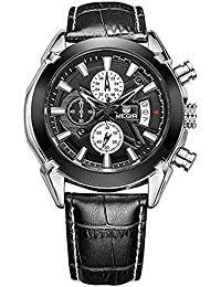 Para hombre Military analógico 3sub-dial impermeable luminosa cronógrafo cuarzo muñeca relojes con correa de piel m2020bk