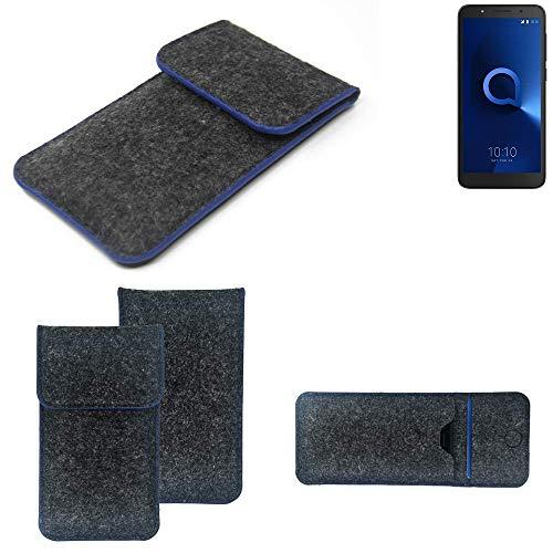 K-S-Trade® Filz Schutz Hülle Für Alcatel 1C Single SIM Schutzhülle Filztasche Pouch Tasche Case Sleeve Handyhülle Filzhülle Dunkelgrau, Blauer Rand Rand