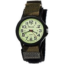 NY LONDON Reloj Niños joven chica Nylon Reloj de pulsera Textil Night Glow camuflaje velcro reloj de pulsera con esfera brillante en negro Incluye caja para relojes Verde