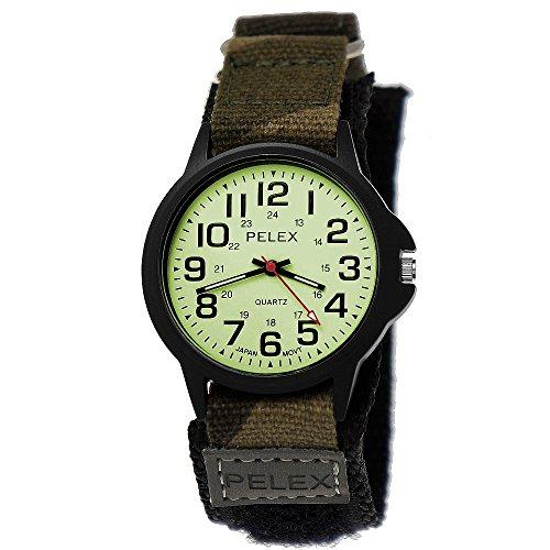 Pelex London Camouflage Tarn Kinder-Uhr Jungen-Uhr Mädchen-Uhr leuchtendes Ziffernblatt für Kinder Analog Quarz Textil Nylon Klettverschluss Armband-Uhr Schwarz Grün grau Japanisches Qualitäts Uhrwerk