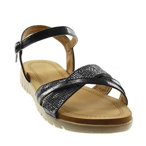 Angkorly Chaussure Mode Sandale Lanière Cheville Femme Multi-Bride Strass Diamant Brillant Talon Plat 2.5 CM Noir