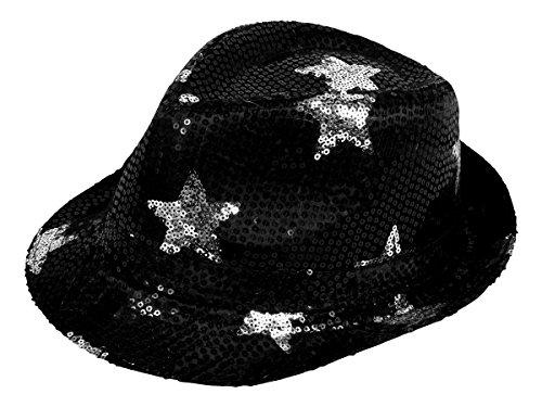 Alsino Pailletten Trilby Hut mit Sternen Partyhut Trilby -