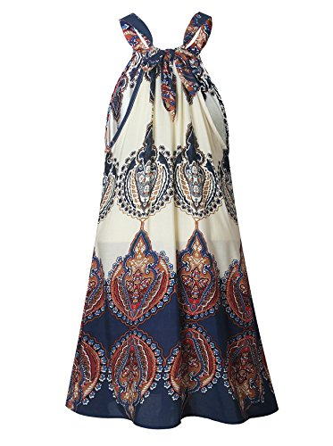 Donne Mini Vestito Casuale Spiaggia Elegante Camicetta Lungo senza Maniche Boho Fiore Stampato Come immagine