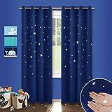 Kinderzimmer Vorhang Sterne mit Ösen - PONY DANCE 210cm x 132cm(H x B), Blau 2er-set ausgestanzt flackern Vorhänge Blickdicht Gardine für Baby, Thermo isoliert Verdunkelungsvorhänge