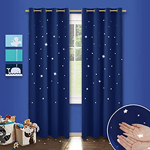 Kinderzimmer Vorhang Sterne mit Ösen - PONY DANCE 210cm x 132cm(H x B), Blau 2er-set ausgestanzt flackern Vorhänge Blickdicht Gardine für Baby, Thermo isoliert