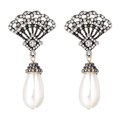 Clearine Damen Hochzeit Braut Kristall Fan-Shape Tropfen Künstliche Perlen Dangle Ohrringe Ivory farbe Antique - Braut-fans