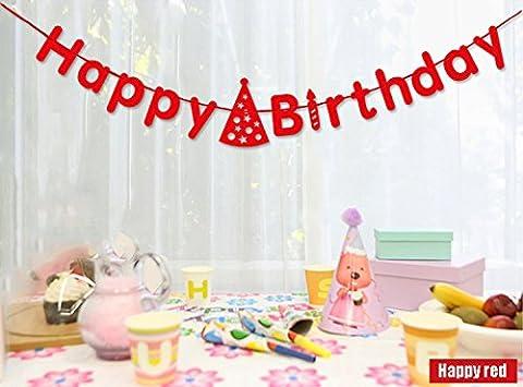 Koker Premium Sparkle Buchstaben pastell Happy Birthday Geburtstag Flagge Banner personalisierten, Glitzer Vintage Party Pennant Fransen Wimpelkette Girlande rot