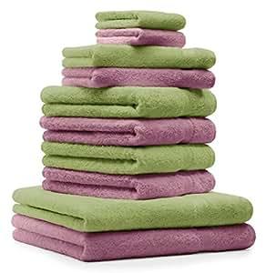 10 tlg. Handtuch Set Premium Farbe Apfel Grün & Altrosa 100% Baumwolle 2 Duschtücher 4 Handtücher 2 Gästetücher 2 Waschhandschuhe