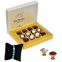 De'Arco Chocolatier Handmade Luxurious Rakhi Gift Chocolate Box, Dark Chocolate Gift Hamper for Brother, 12pcs + Free 1 Rakhi + Free Roli Chawal