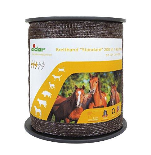 Weidezaun Breitband Standard 200m, 40mm, braun - hohe Leitfähigkeit - Sehr Robust - Unser Bestseller zum - Zaun Pferd Elektrischer