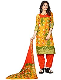 Taboody Empire Elbow Multi Satin Cotton Handi Crafts Bandhani Work With Straight Salwar Suit For Girls And Women