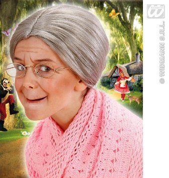 Old Granny Costumes Déguisements - Ladies Grey Granny Wig With Bun Old