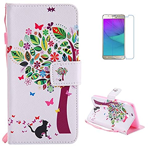 Samsung Galaxy J5(2017) Premium Flip Leather Case,[with Free Screen Protector] KaseHom Magnetic Closure Wallet Type Elegant Colourful Tree Butterfly Unique Pattern Design with [Card Slots][Anti-Scratch Bumper] Multi-function Protective Cover Holster for Samsung Galaxy J5(2017)