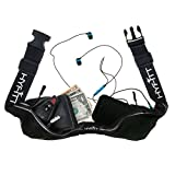 Running Waist Belt - Easily & Comfortably Store Your Valuables During Workout Exercise & Travel. Reflective Water Resistant Expandable Adjustable Belt With Pouches. Fits iPhone Samsung Android (Black)