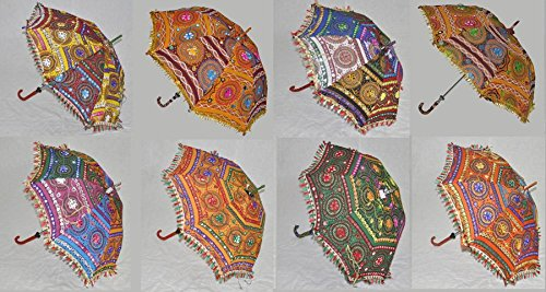 Handgefertigt bestickt Baumwolle Damen Regenschirm Sonnenschirm Hochzeit Dekoration Set von 5Pcs...