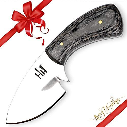 Hobby Hut HH-901, 11.9 cm, 01 Kohlenstoffstahl, Jagdmesser mit Scheide, Micarta Griff, lederscheide