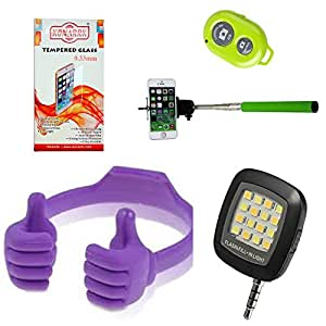 KONARRK 4 in 1 Combo of Selfie Stick Green, OK Stands Purple, Selfie Flash Black and Tempered Glass for LYF WATER8