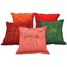 Camel Print Aari Zari Embroidered Cushion Cover 5 Pc. Set