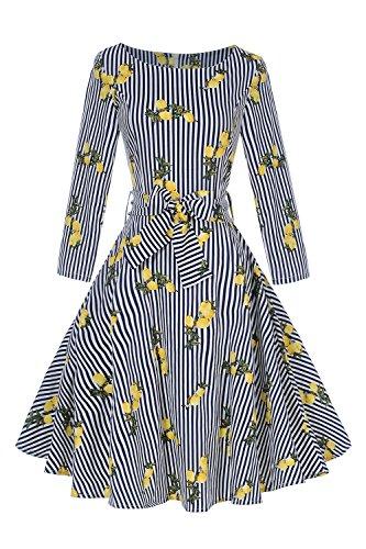 garm Swing Tanzkleid Rockabilly Ballkleid Zitrone knielang Blau L (Zitrone 50er Jahre Kleid)