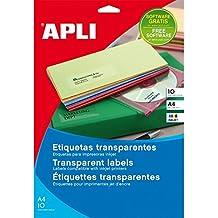 Apli 10052 - Etiquetas transparentes para impresoras (A4, paquete de 10)