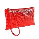 Damen Krokodil Leder Umhängetasche Handtasche,Manadlian Frauen Schultertasche Kleine Tasche Geldbörse Umhängetasche Rucksäcke frauen großer kapazität Geldbeutel Handtasche (Rot)