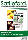 Sattleford Label: 12 Etiketten A4 210x297 mm für Laser/Inkjet (Drucker Etiketten)