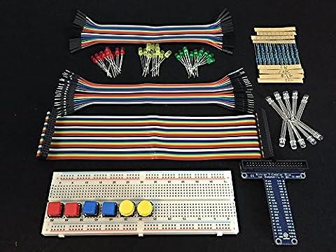 [Sintron] Kit de 40broches t-cobbler GPIO Extension Planche Kit de démarrage avec LED RGB Interrupteur Bouton Poussoir 830Points de platine d'expérimentation pour Raspberry Pi 2modèle B 1Go & B +