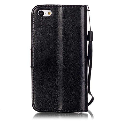 iPhone 5C Custodia Pelle,Ukayfe PU Disegni dipinto Case Cover Protettiva Portafoglio Protettivo Copertura Wallet Libro,Moda Disegno stampa dellunità di elaborazione di vibrazione del cuoio magnetico  nero3#