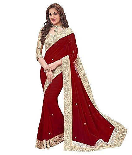 Vinayak Trendz Women's Chiffon Saree With Blouse Piece (Priya sky) (Maroon)