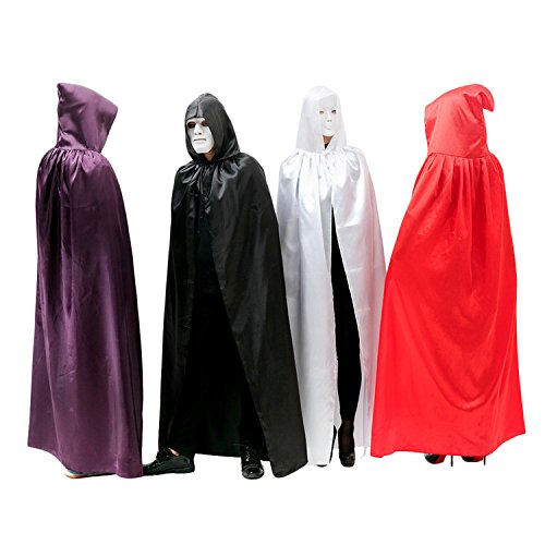 tumes Cape Hooded Cloak Vampire Wizard Witch Cosplay Party Masquerade Role Play Full Length - White Extra Large (White Witch Cosplay)