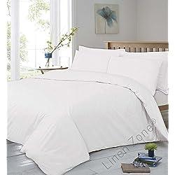 Tejido de 400hilos, extraprofundidad 40cm, sábana bajera ajustable 100 % de algodón egipcio súpersuave y de calidad hotelera. , Blanco, 2 Standard Pillow Cases