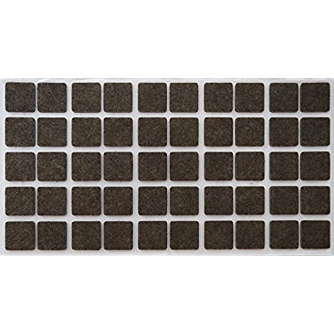 50 Felt-Pads 0.79'' x 0.79'' (20x20 mm), brown, square, 0.138'' (3.5 mm) heavy, furniture glider - Furniture Glides - Self-Adhesive - Scratch Protection - heavy Furniture Glides - Top-quality, square 0.79'' x 0.79'' (20x20 mm) by Adsamm