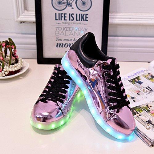 (+Kleines Handtuch)Bunte LED-Lichter leuchten und silberne Schuhe neuen Freizeitschuhe USB-Lade leuchtende männliche und weibliche Paar Sch c0