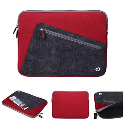 Kroo Tablet-Schutzhülle aus Neopren/Sleeve für Dell Latitude 12E5250. Vorne Reißverschluss Tasche für speicherbedarf rot rot / schwarz