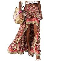 DUe Women's Stylish Splicing Smocked Waist Print High Low Club Swing Skirt Red M