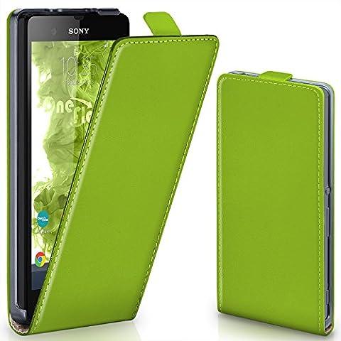 Sony Xperia Z Hülle Grün [OneFlow 360° Klapp-Hülle] Etui thin Handytasche Dünn Handyhülle für Sony Xperia Z Case Flip Cover Schutzhülle Kunst-Leder Tasche