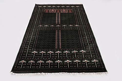 Pink City Souvenirs Handgeknüpfter indischer traditioneller Teppich 4x6 Fuß (120x180 cm) M.Grüner Wolle Parda Design. ...
