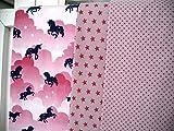Lottashaus Jersey no4E Stoffpaket 3 Stück 50x70cm Grau Rosa Pink Pferd Einhorn Baumwolljersey Kinder Kleidung Stoffe