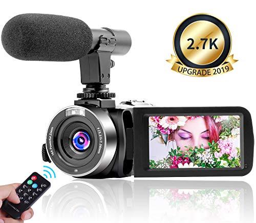 Videokamera Camera 2,7K 30FPS Camcorder Vlog Kamera 3,0 Zoll Touchscreen Videokamera 30MP Nachtsicht Kamera mit Mikrofon und Zeitraffer Funktion