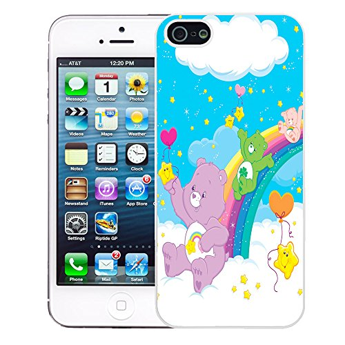 Image of Care Bear cartoon cover case for Apple iPhone 5 - 5S - T756 - Good Luck Cheer Bear - White