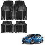 #8: Vheelocityin Honda Amaze Car Mat Black / Black rubber Foot Mat For Honda Amaze