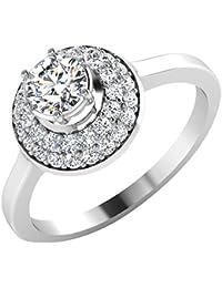 IskiUski White Gold And American Diamond Ring For Women - B075VHDHPQ
