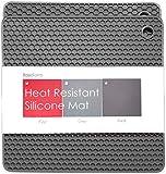 BasicForm Silicone Trivet Square Honeycomb Pattern 18.8x18.8x0.8cm (Set of 2) (Grey)