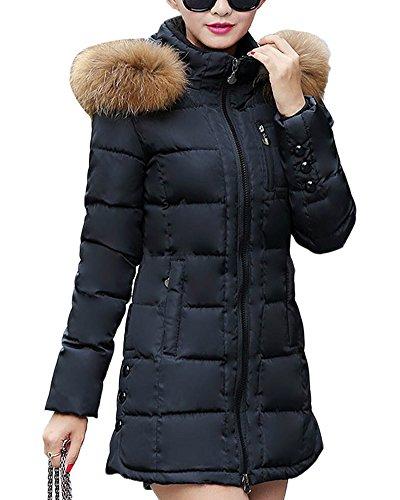 SaiDeng Donne Collo Di Pelliccia Cappotto Spessore Outwear Piumino Cappotto Caldo Di Inverno Nero XL