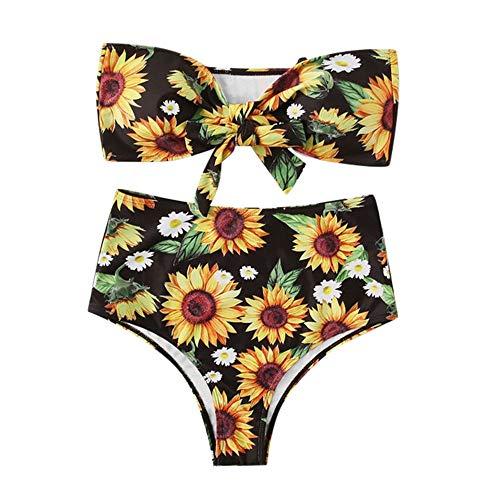 Aiserkly Damen Sexy Sonnenblume Drucken Trägerloses Geknoteter Bikini Set High Leg Tanga Bandeau Zweiteilige Badeanzug Strandbikini Schwimmanzug Strandmode Schwarz L