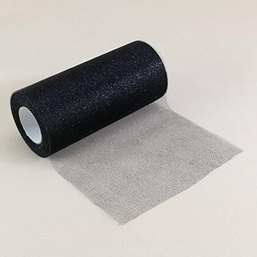 Glitzernder Tüll, Stoffband-Rolle, glänzendes Netzband, 15,2cm breit, 22,8 m Länge, für Tutu-Rock, Hochzeitsdekoration, Tischläufer Schwarz ()