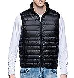 Panegy - Doudoune Gilet sans Manche Homme Garçon Veste Matelassée Rayure Duvet Hiver Légère Pliable Casual Manteau Outdoor Zippé Généreux Mode - Noir - Lable Taille 3XL (FR XL)