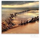 Wallario Herdabdeckplatte / Spitzschutz aus Glas, 1-teilig, 60x52cm, für Ceran- und Induktionsherde, Bootswrack in Irland am Strand